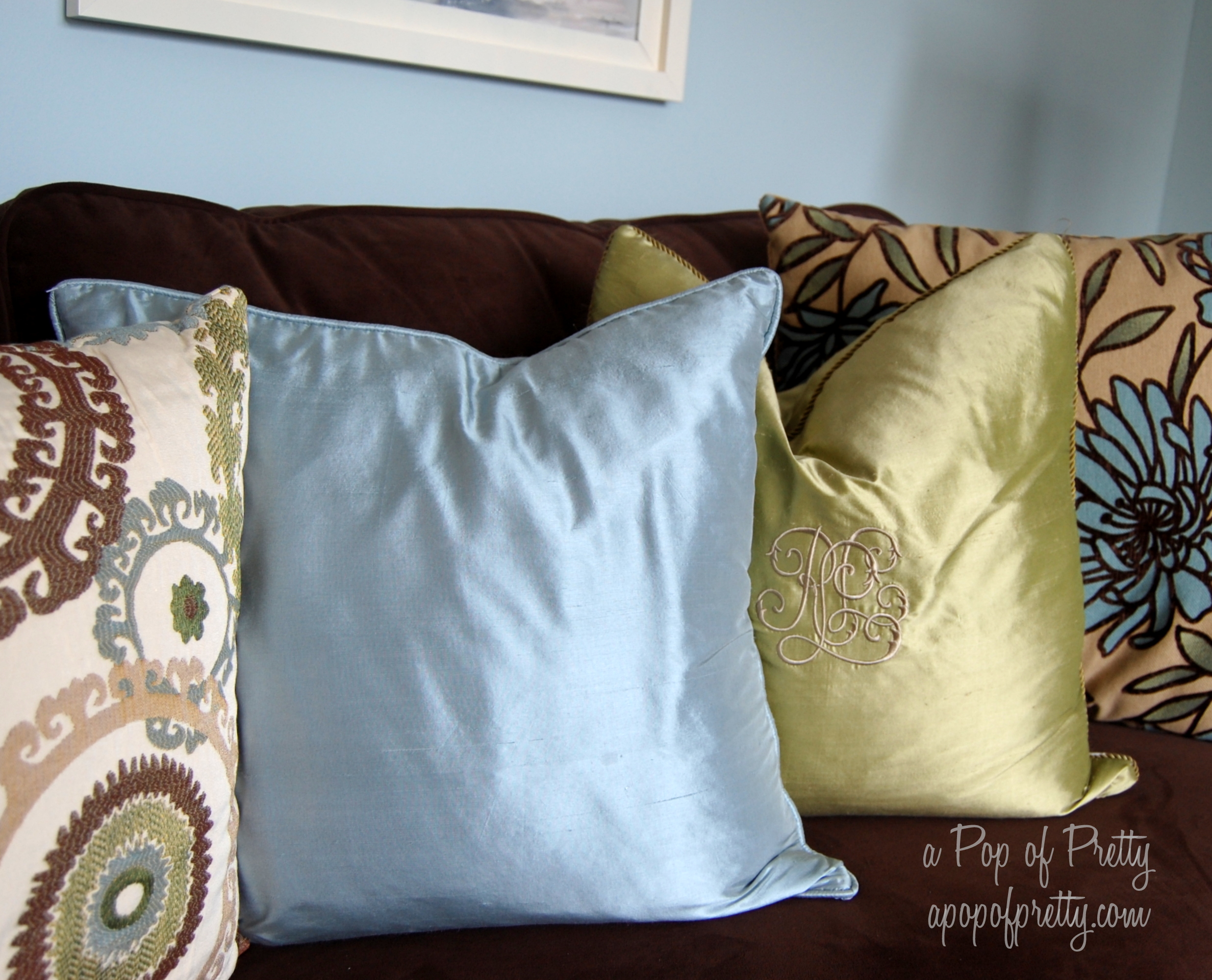 brown blue living room decor a pop of pretty blog canadian home decorating blog st johns canada
