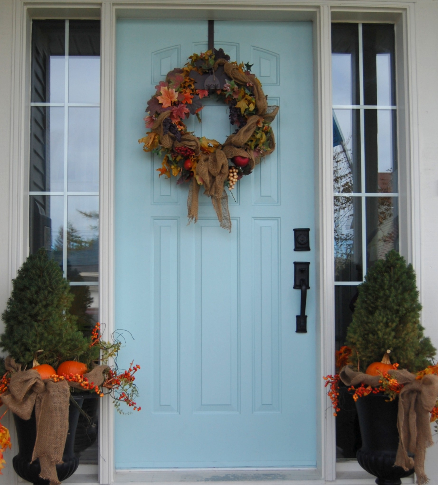 My two tries at fall door decor fall wreaths a pop of for Decorating blogs canada