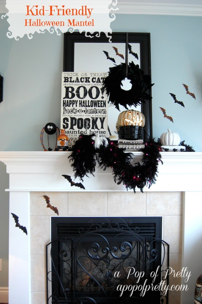 halloween mantel pin it - Halloween Mantle