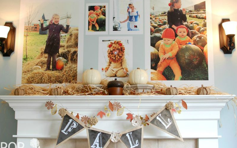 Fall mantel decor with giant fall photos a pop of pretty blog canadian home decorating blog - Canadian home decor stores photos ...