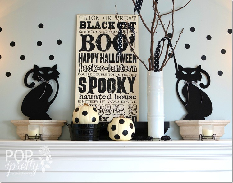 Halloween decorating - black and white