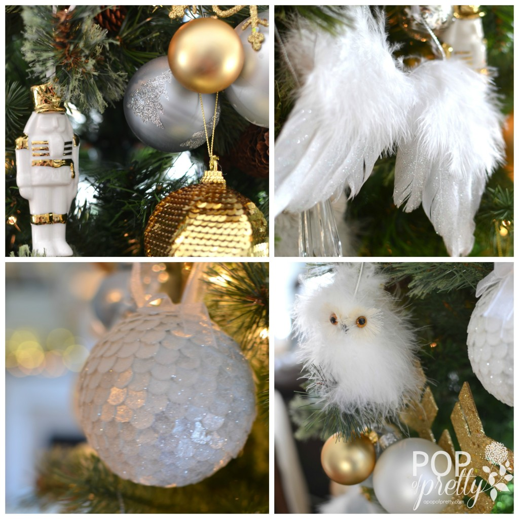 Christmas tree decorations gold - Gold And White Christmas Collage