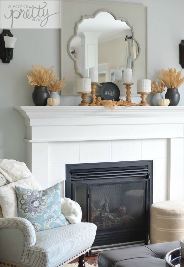 Simple fall mantel with neutrals a pop of pretty blog for Home decor canada